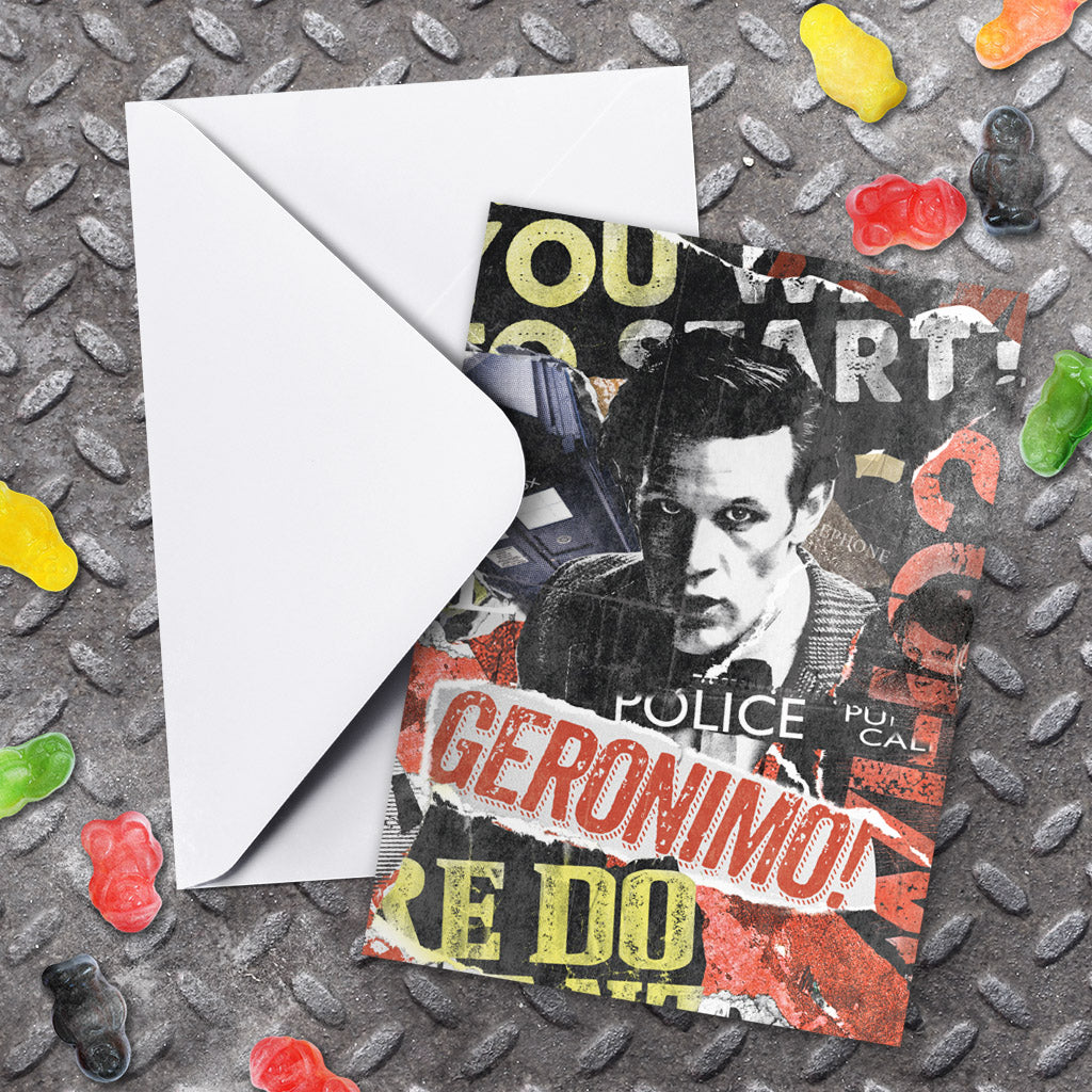 Eleventh Doctor Collage Greeting Card (Lifestyle)