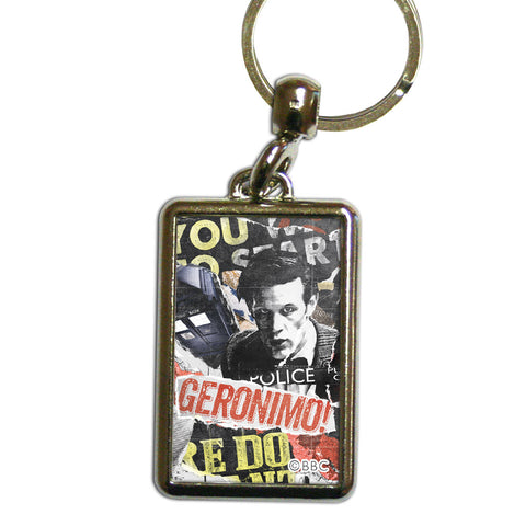 Eleventh Doctor Collage Metal Keyring