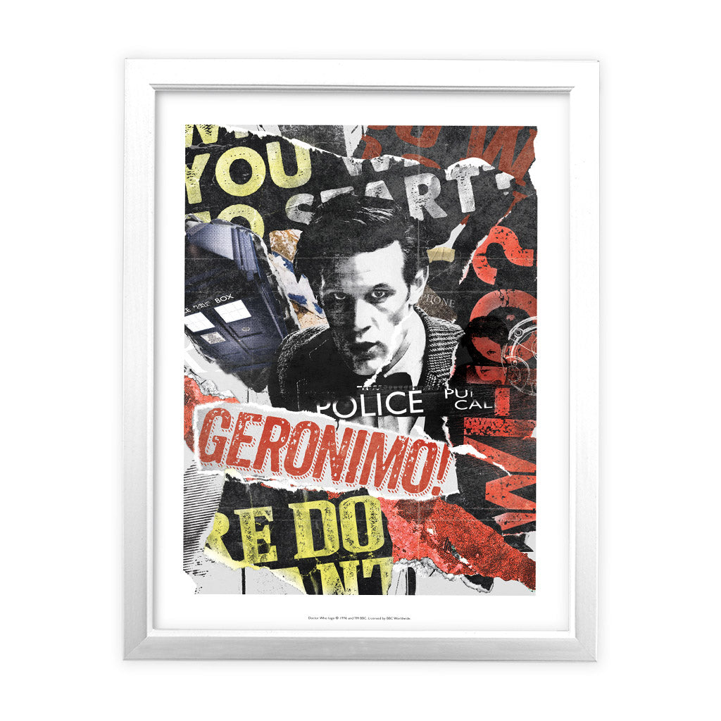 Eleventh Doctor Collage White Framed Art Print
