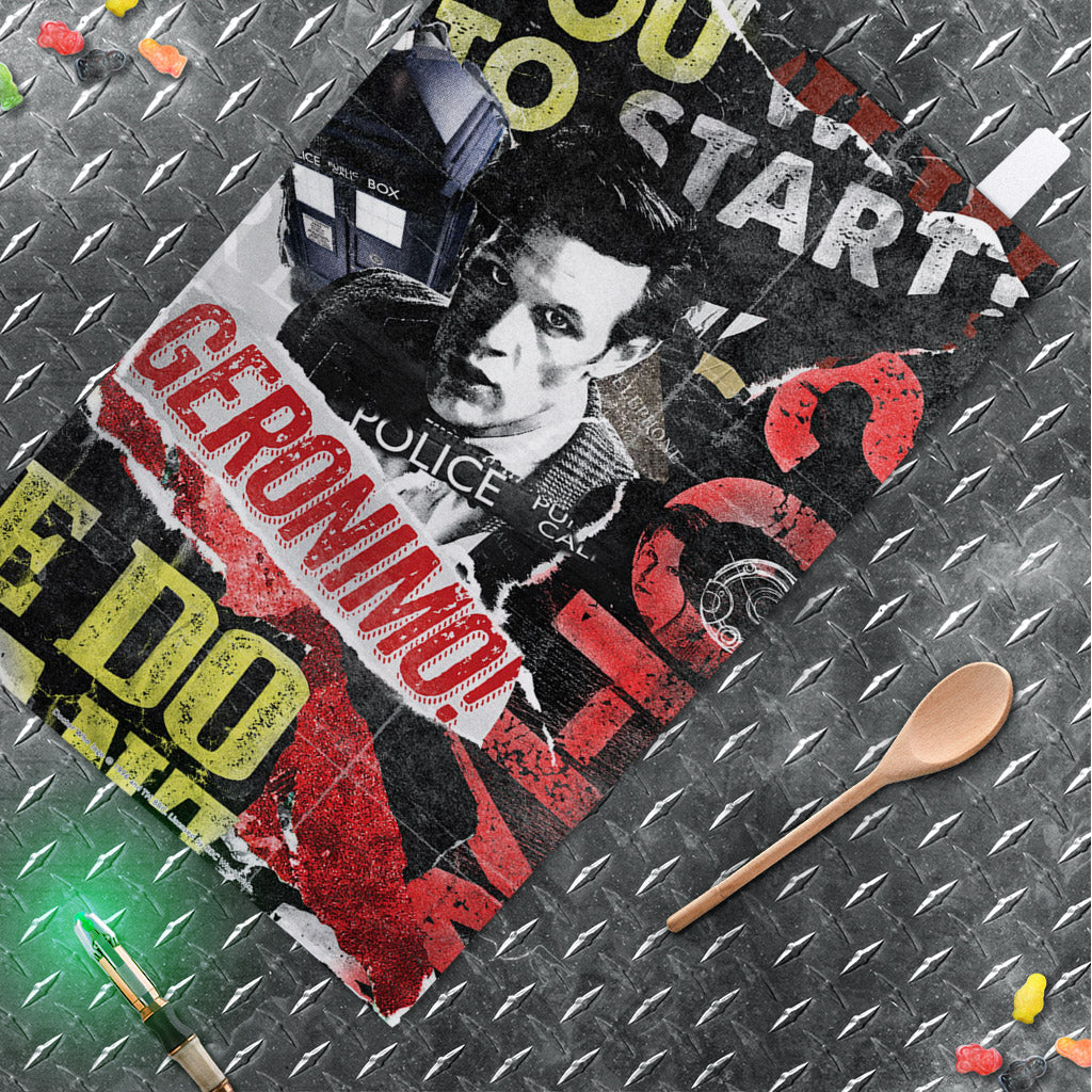Eleventh Doctor Collage Tea Towel (Lifestyle)