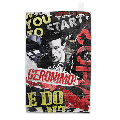 Eleventh Doctor Collage Tea Towel