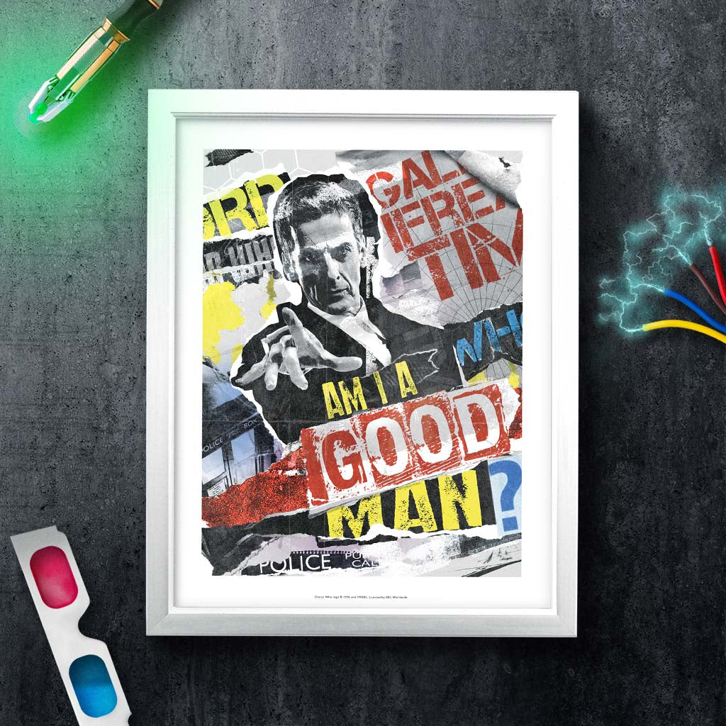 Twelfth Doctor Collage White Framed Art Print (Lifestyle)