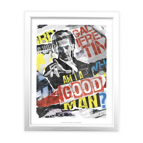 Twelfth Doctor Collage White Framed Art Print