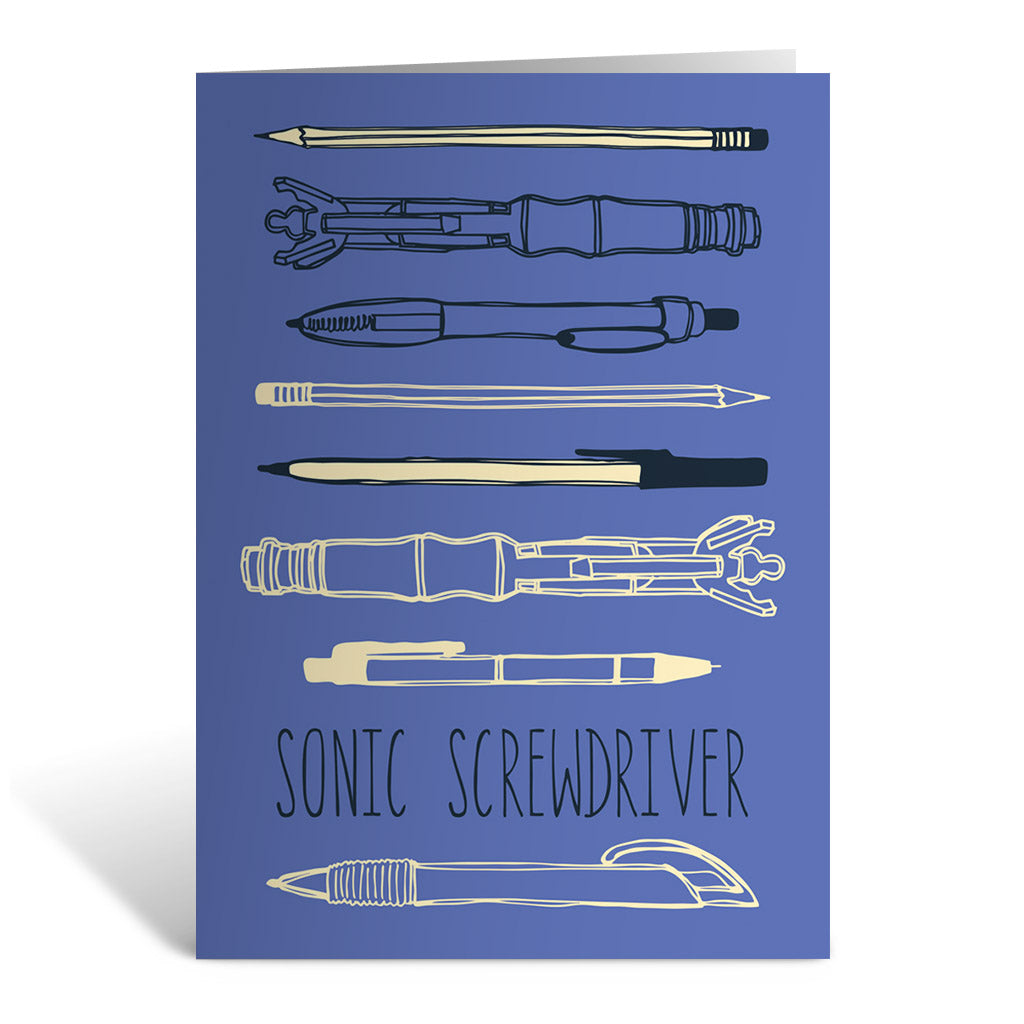 Who Home Handmade Sonic Screwdriver Greeting Card