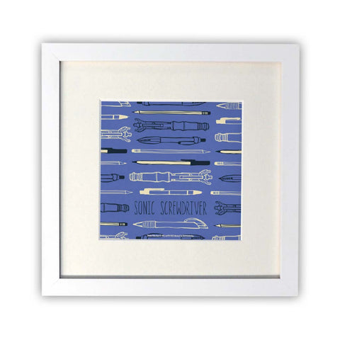 Who Home Handmade Sonic Screwdriver Square White Framed Print