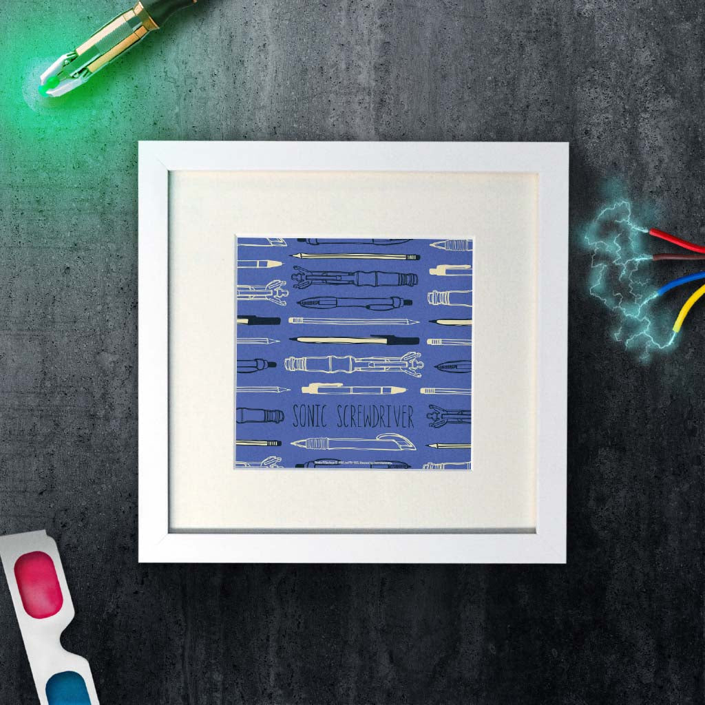 Who Home Handmade Sonic Screwdriver Square White Framed Art Print (Lifestyle)