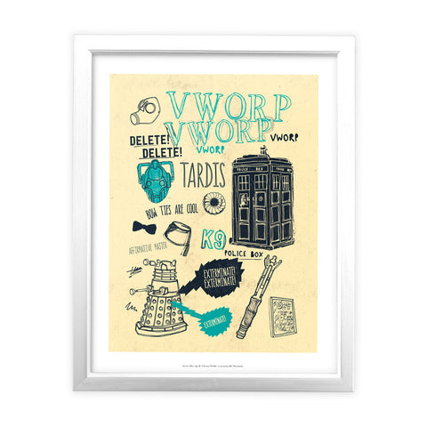 Who Handmade Elements White Framed Art Print