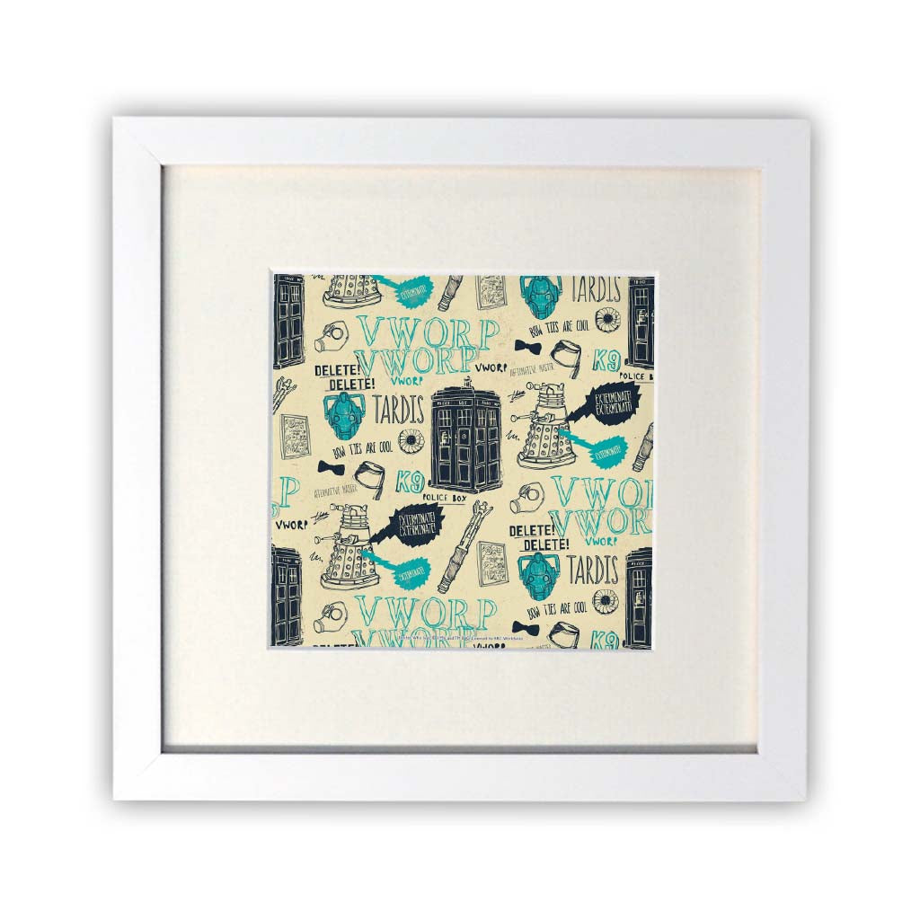 Who Handmade Elements Square White Framed Print
