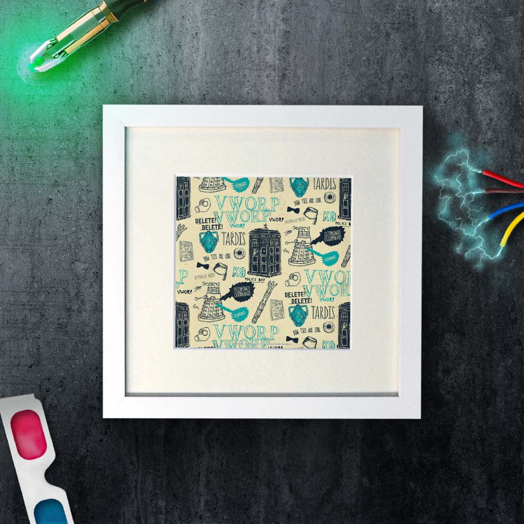 Who Handmade Elements Square White Framed Art Print (Lifestyle)