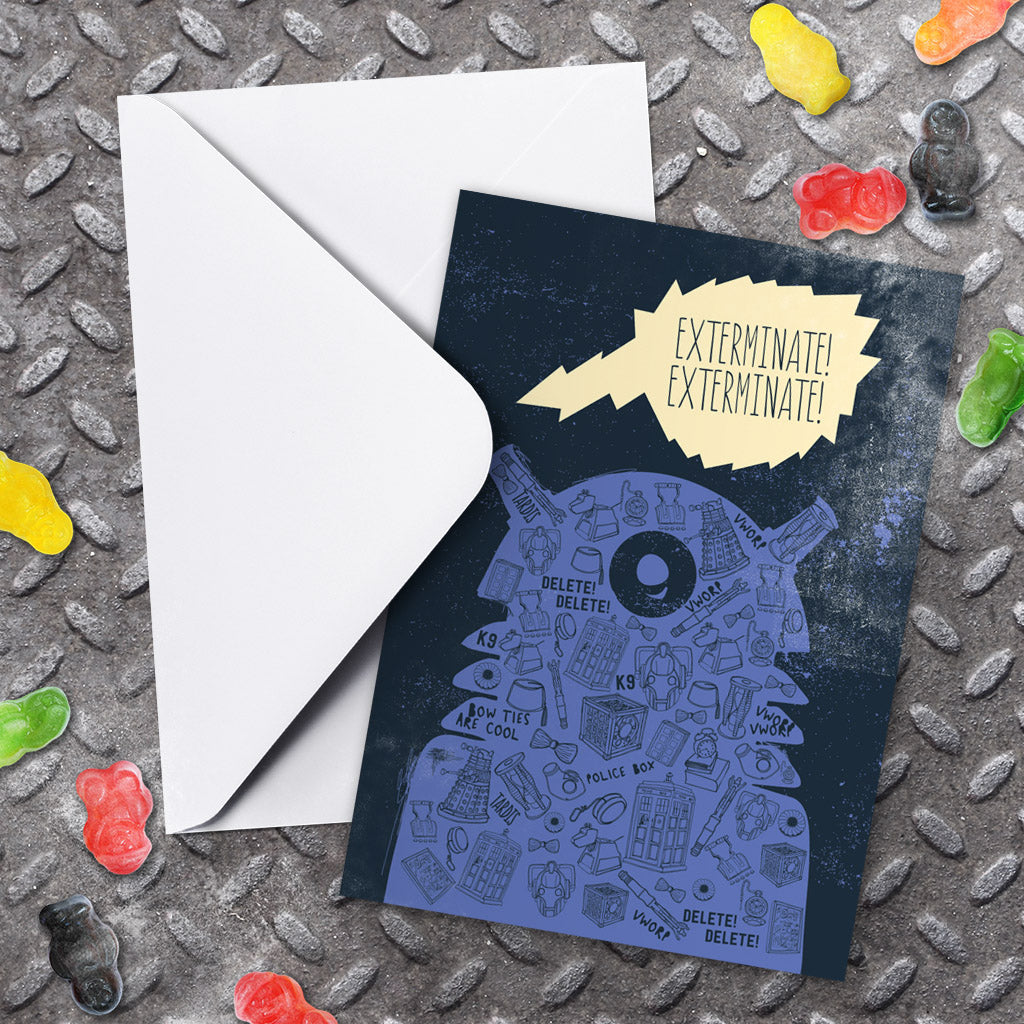 Who Home Handmade Dalek Greeting Card (Lifestyle)