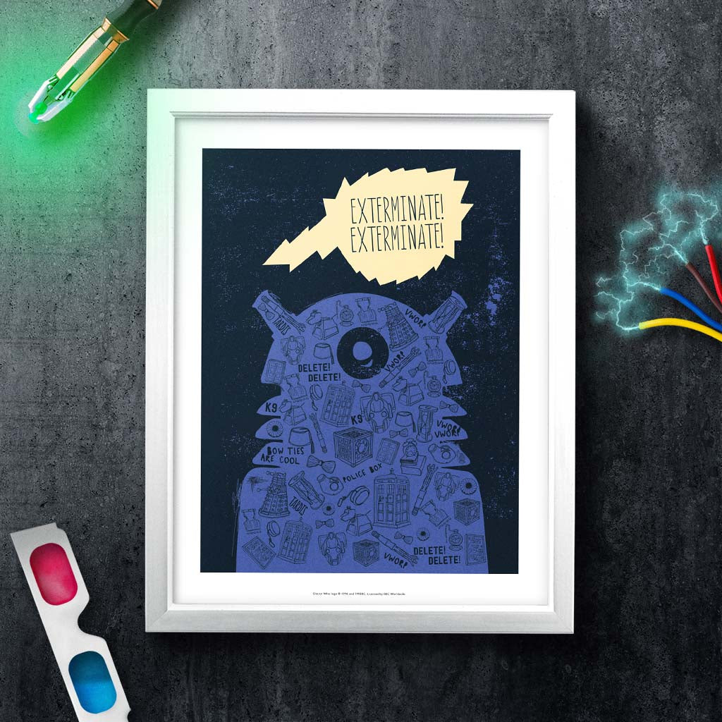 Who Home Handmade Dalek White Framed Art Print (Lifestyle)