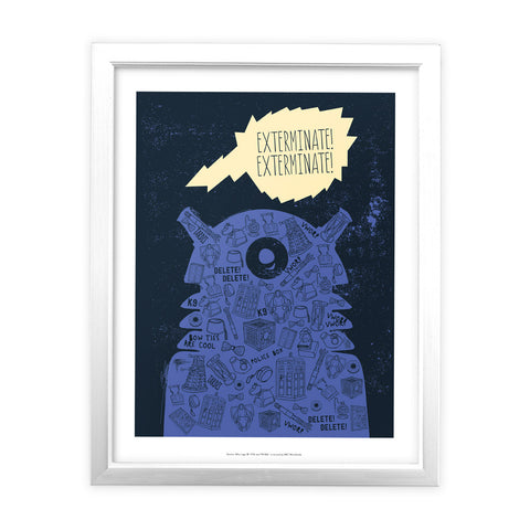 Who Home Handmade Dalek White Framed Art Print