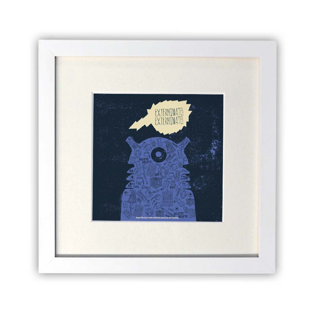 Who Home Handmade Dalek Square White Framed Print