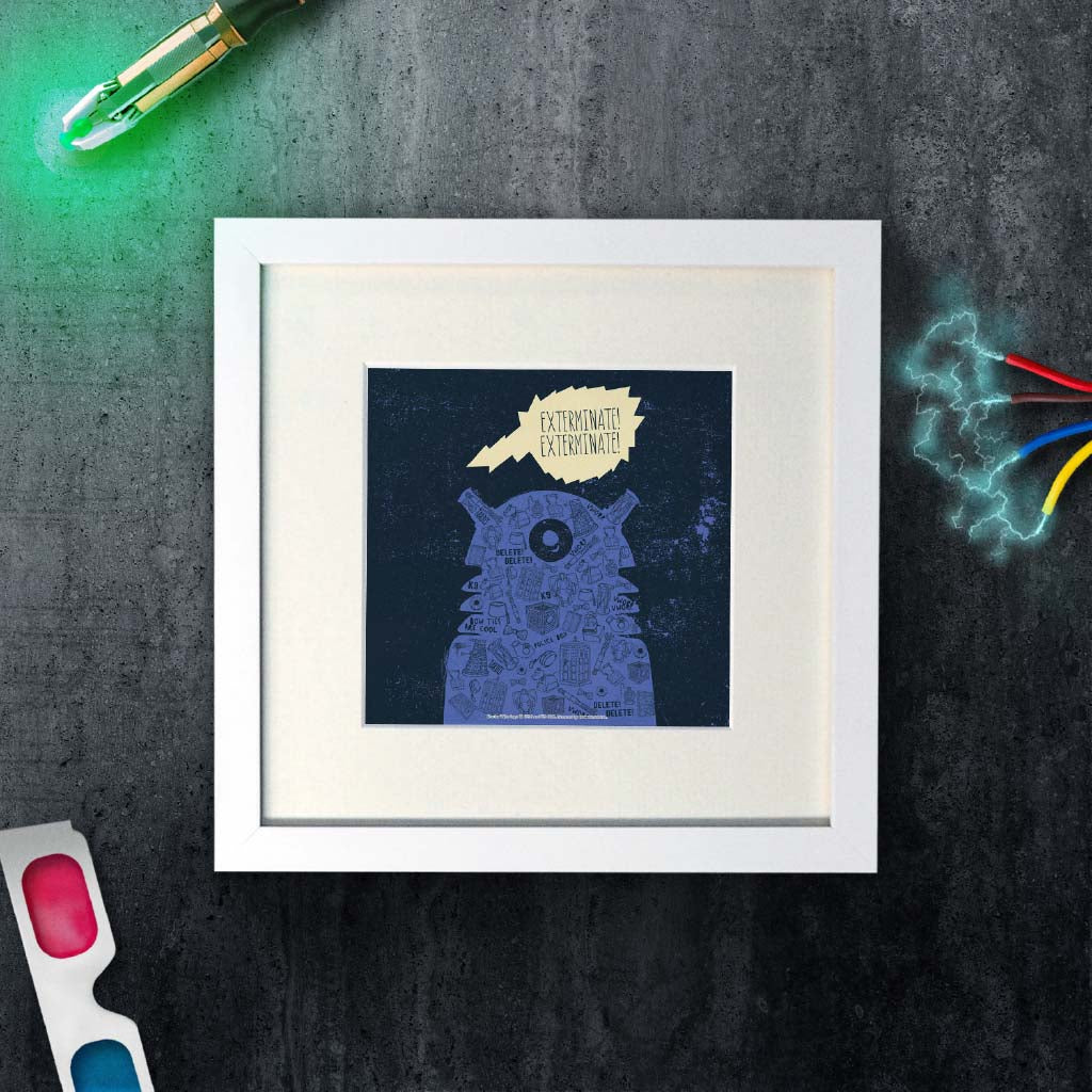Who Home Handmade Dalek Square White Framed Art Print (Lifestyle)