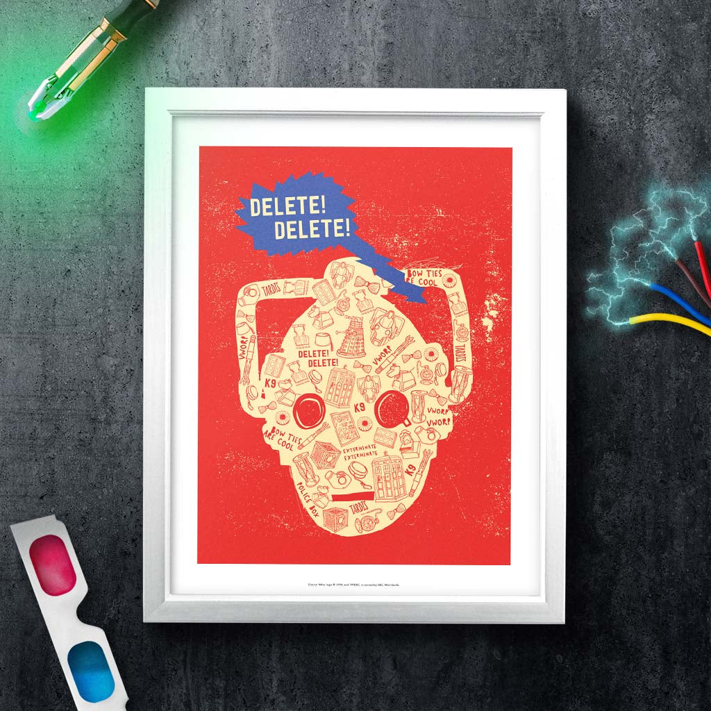 Who Home Homemade Cyberman White Framed Art Print (Lifestyle)