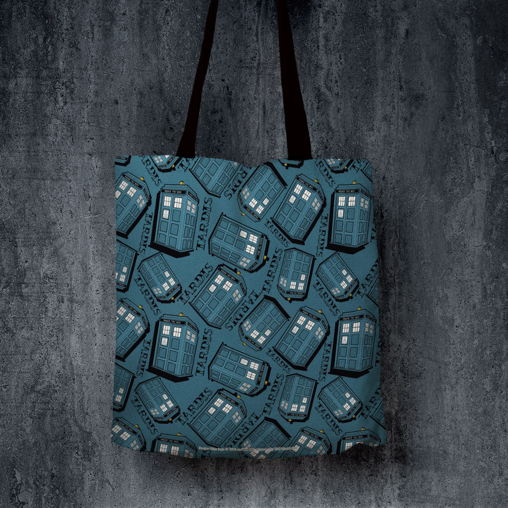 Pinup Tardis Pattern Edge to Edge Tote (Lifestyle)