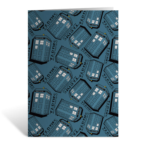 Pinup Tardis Pattern Greeting Card