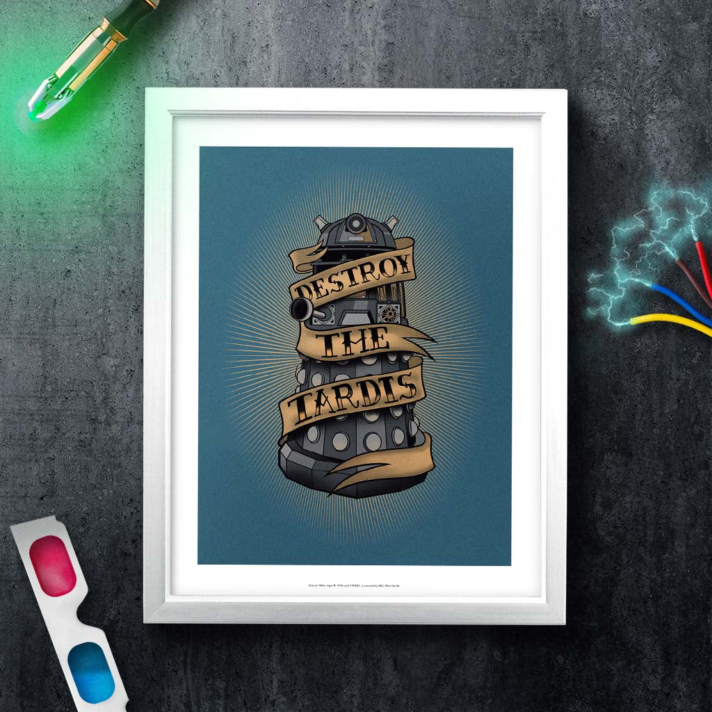 Pinup Dalek White Framed Art Print (Lifestyle)