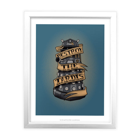 Pinup Dalek White Framed Art Print