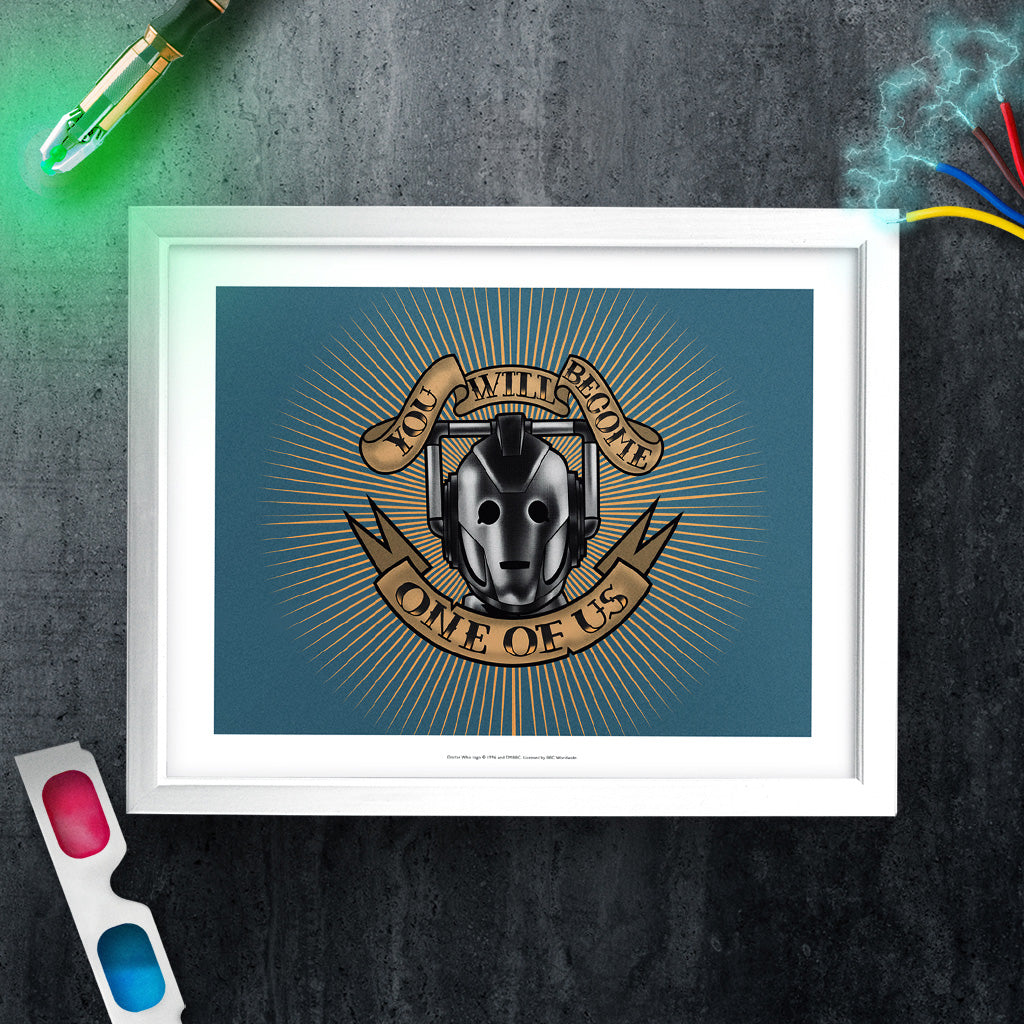 Pinup Cyberman White Framed Art Print (Lifestyle)