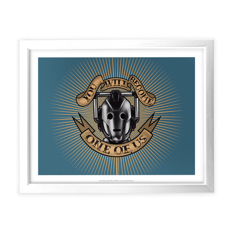 Pinup Cyberman White Framed Art Print