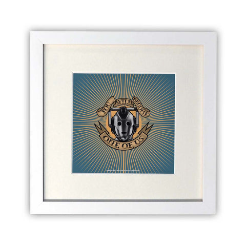 Pinup Cyberman Square White Framed Print