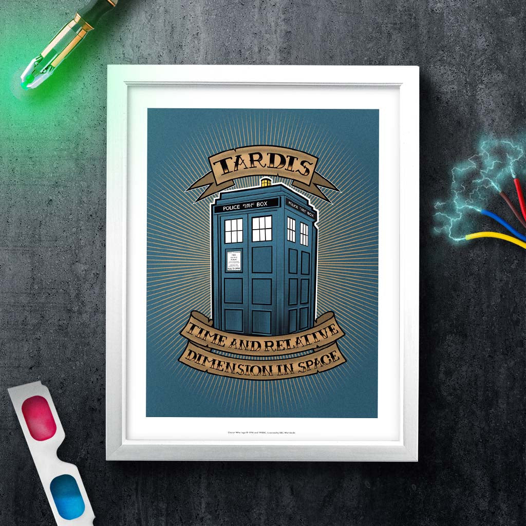 Pinup Tardis White Framed Art Print (Lifestyle)