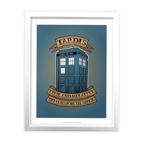 Pinup Tardis White Framed Art Print
