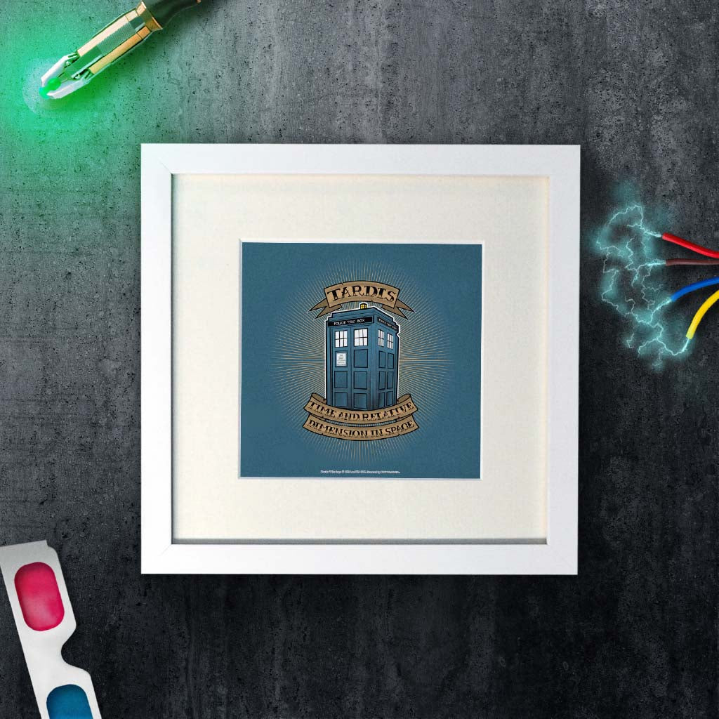Pinup Tardis Square White Framed Art Print (Lifestyle)