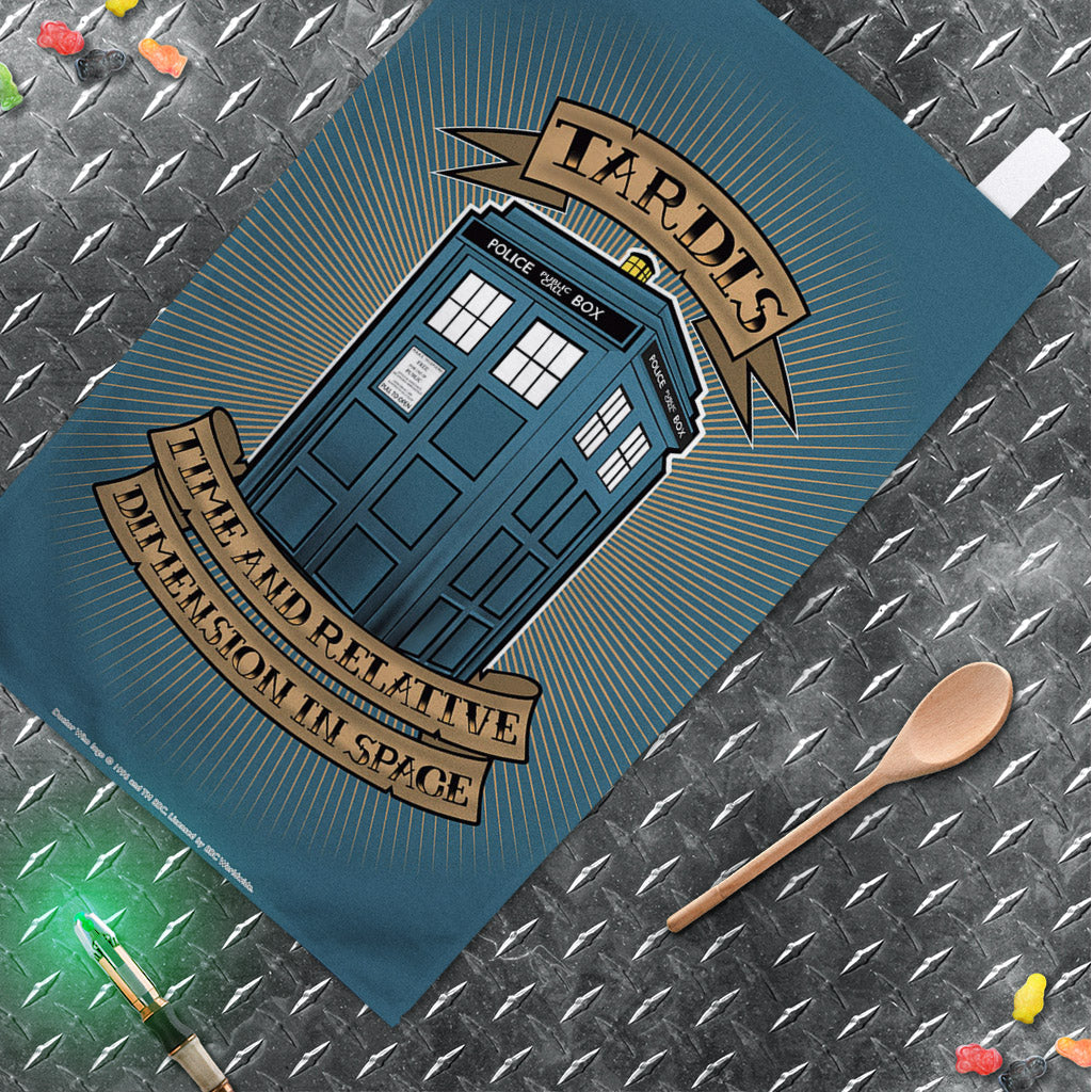 Pinup Tardis Tea Towel (Lifestyle)