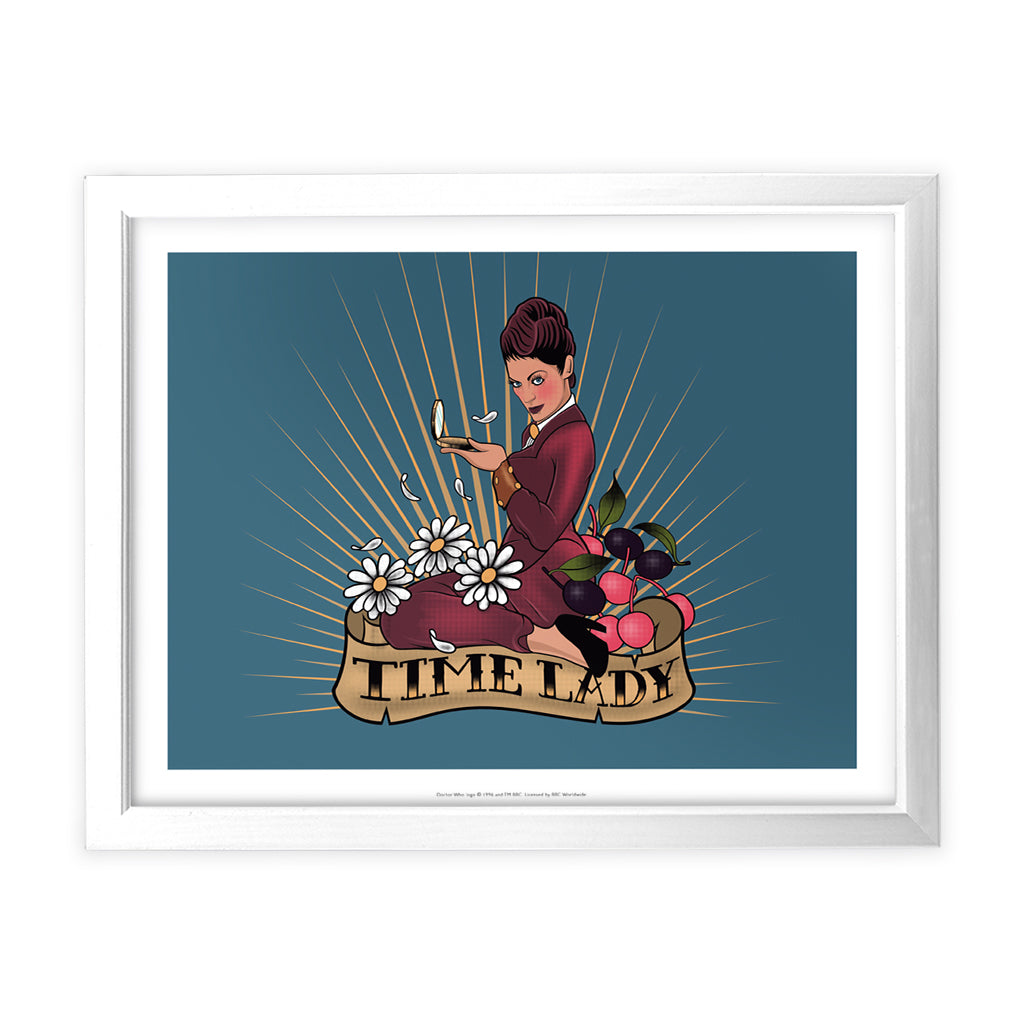 Pinup Time Lady White Framed Art Print