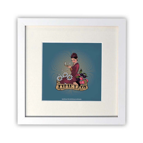 Pinup Time Lady Square White Framed Print