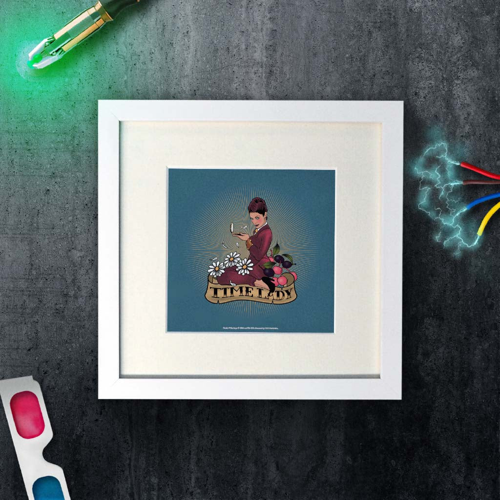 Pinup Time Lady Square White Framed Art Print (Lifestyle)