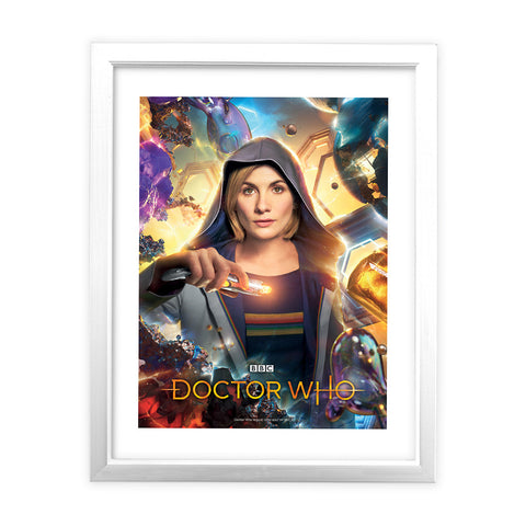Thirteenth Doctor Hood White Framed Art Print