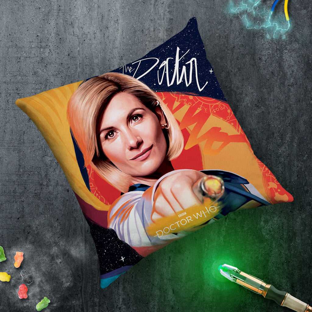 Thirteenth Doctor Sonic Screwdriver Cushion (Lifestyle)