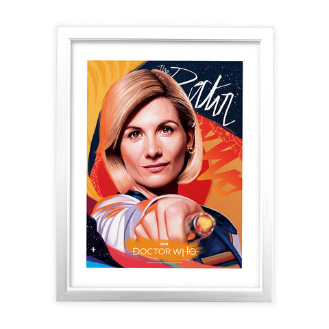 Thirteenth Doctor Sonic Screwdriver White Framed Art Print