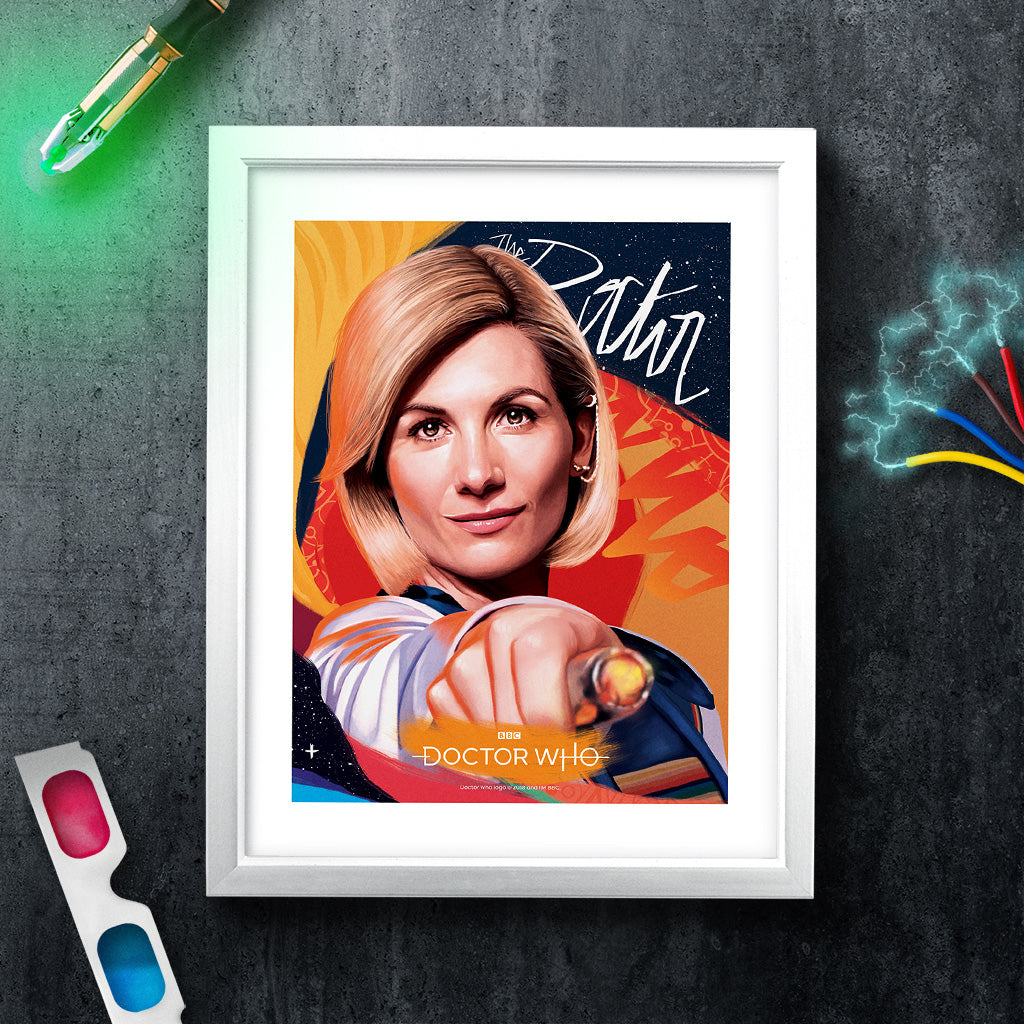 Thirteenth Doctor Sonic Screwdriver White Framed Art Print (Lifestyle)