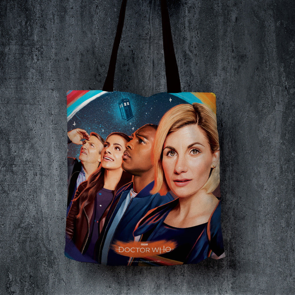 Thirteenth Doctor Group Edge to Edge Tote (Lifestyle)