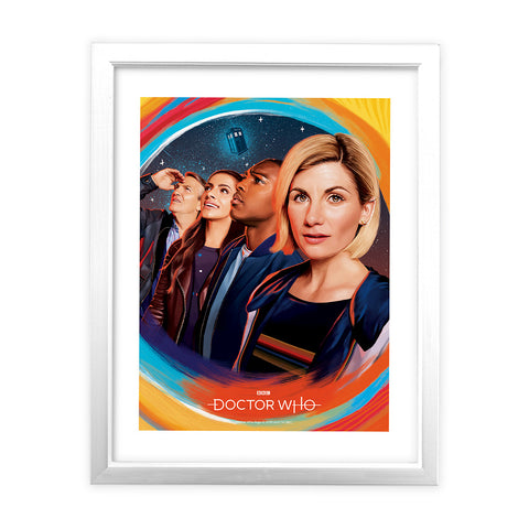 Thirteenth Doctor Group White Framed Art Print