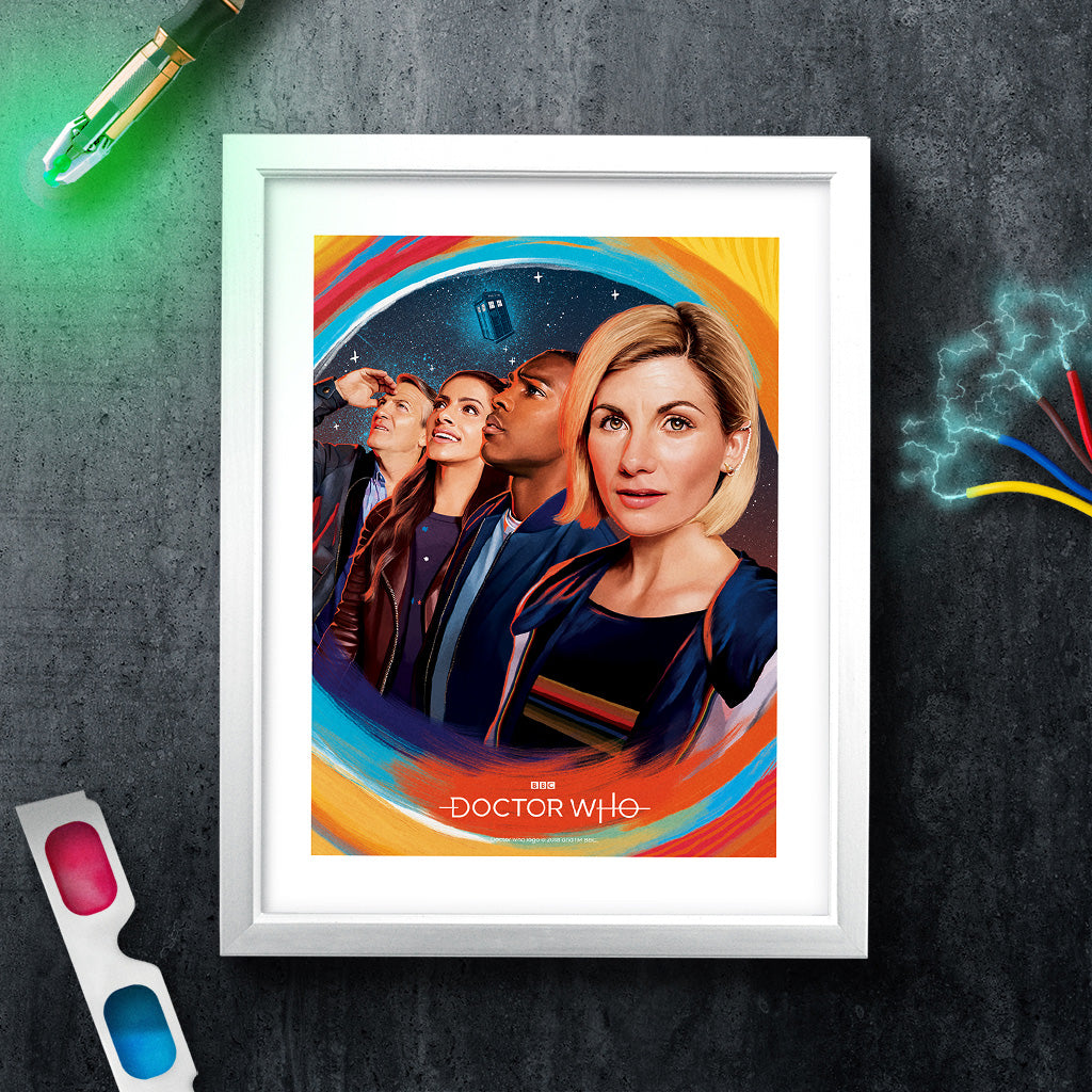 Thirteenth Doctor Group White Framed Art Print (Lifestyle)
