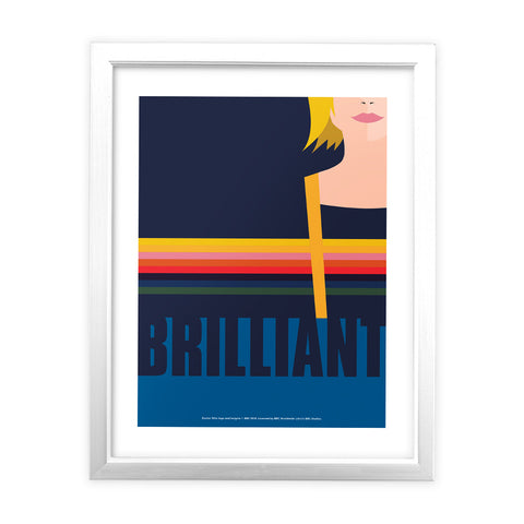 Thirteenth Doctor Brilliant White Framed Art Print