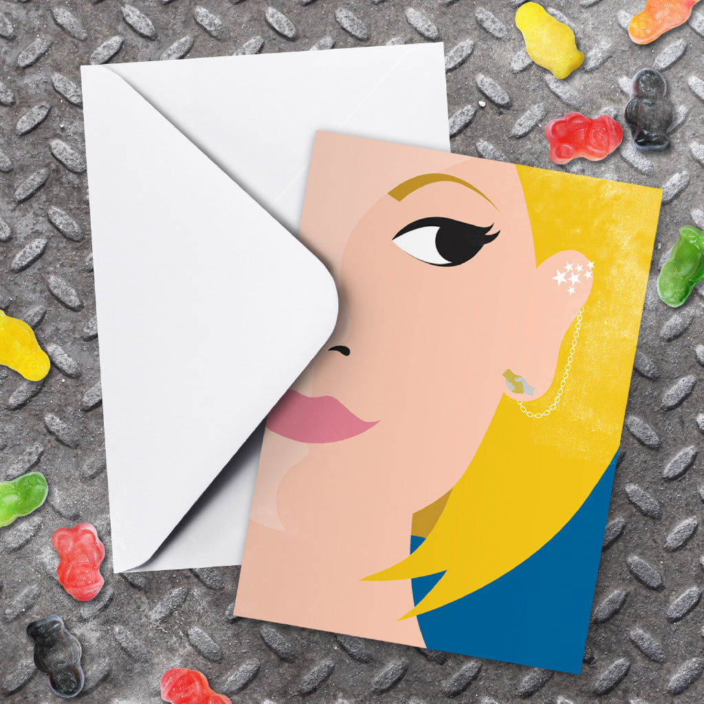 Thirteenth Doctor Face Greeting Card (Lifestyle)