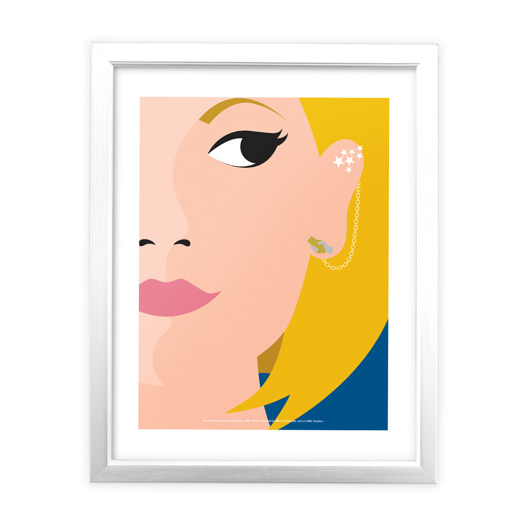 Thirteenth Doctor Face White Framed Art Print