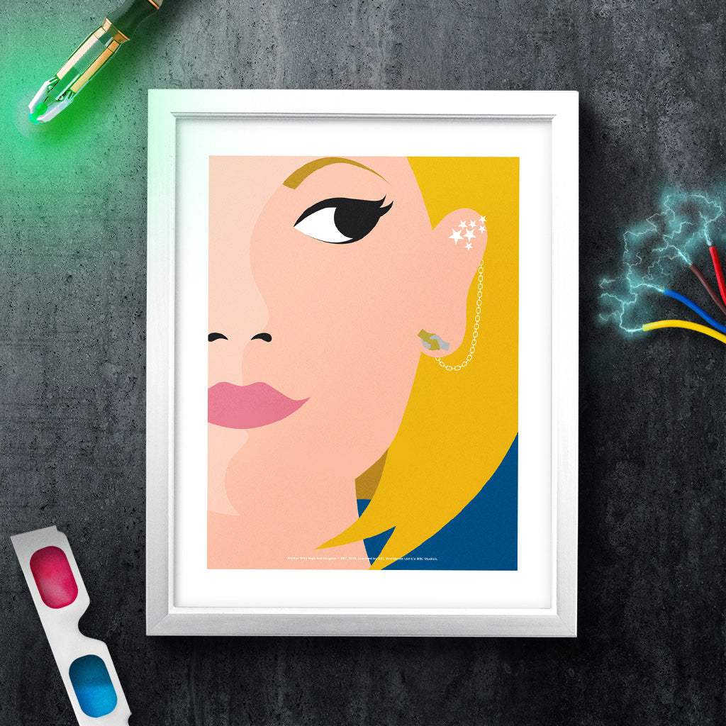 Thirteenth Doctor Face White Framed Art Print (Lifestyle)