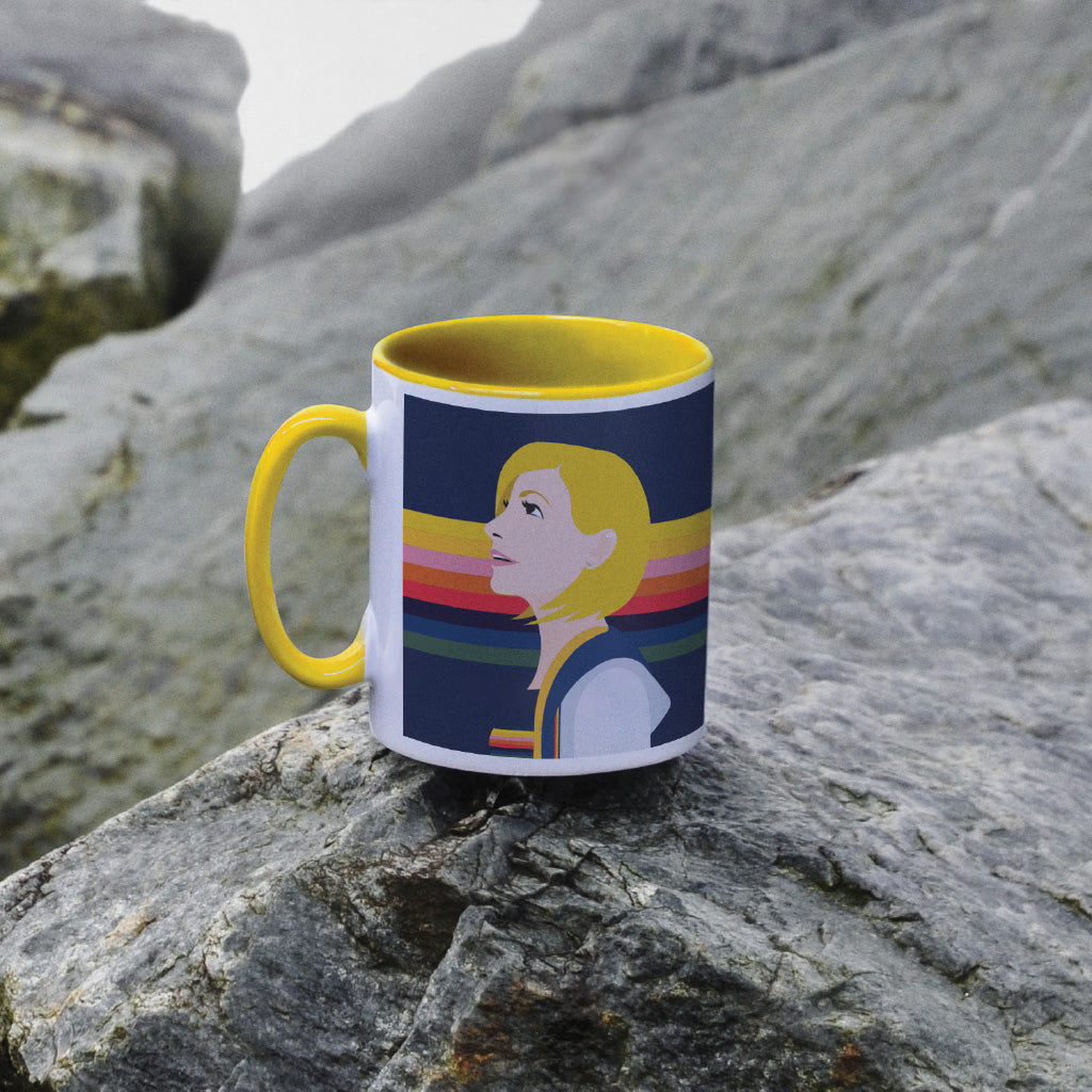 Thirteenth Doctor Rainbow Colour Insert Mug (Lifestyle)