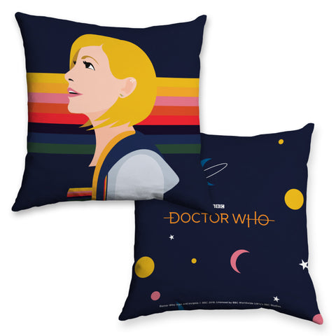 Thirteenth Doctor Rainbow Cushion