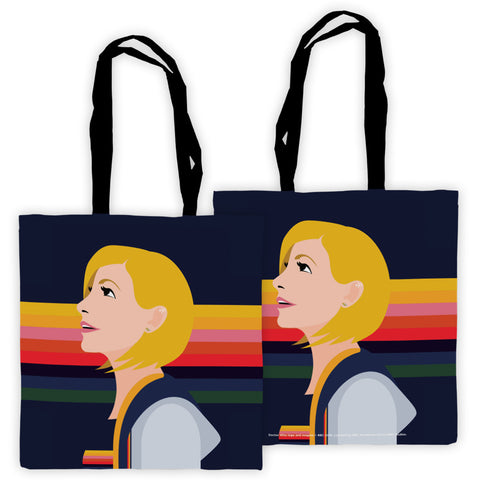 Thirteenth Doctor Rainbow Edge to Edge Tote