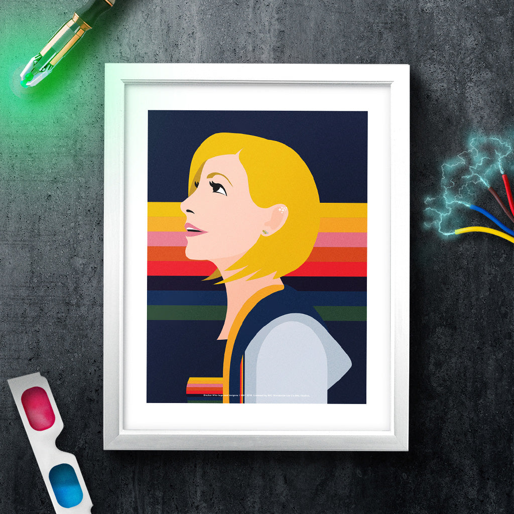 Thirteenth Doctor Rainbow White Framed Art Print (Lifestyle)