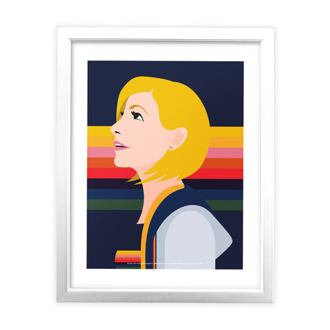 Thirteenth Doctor Rainbow White Framed Art Print