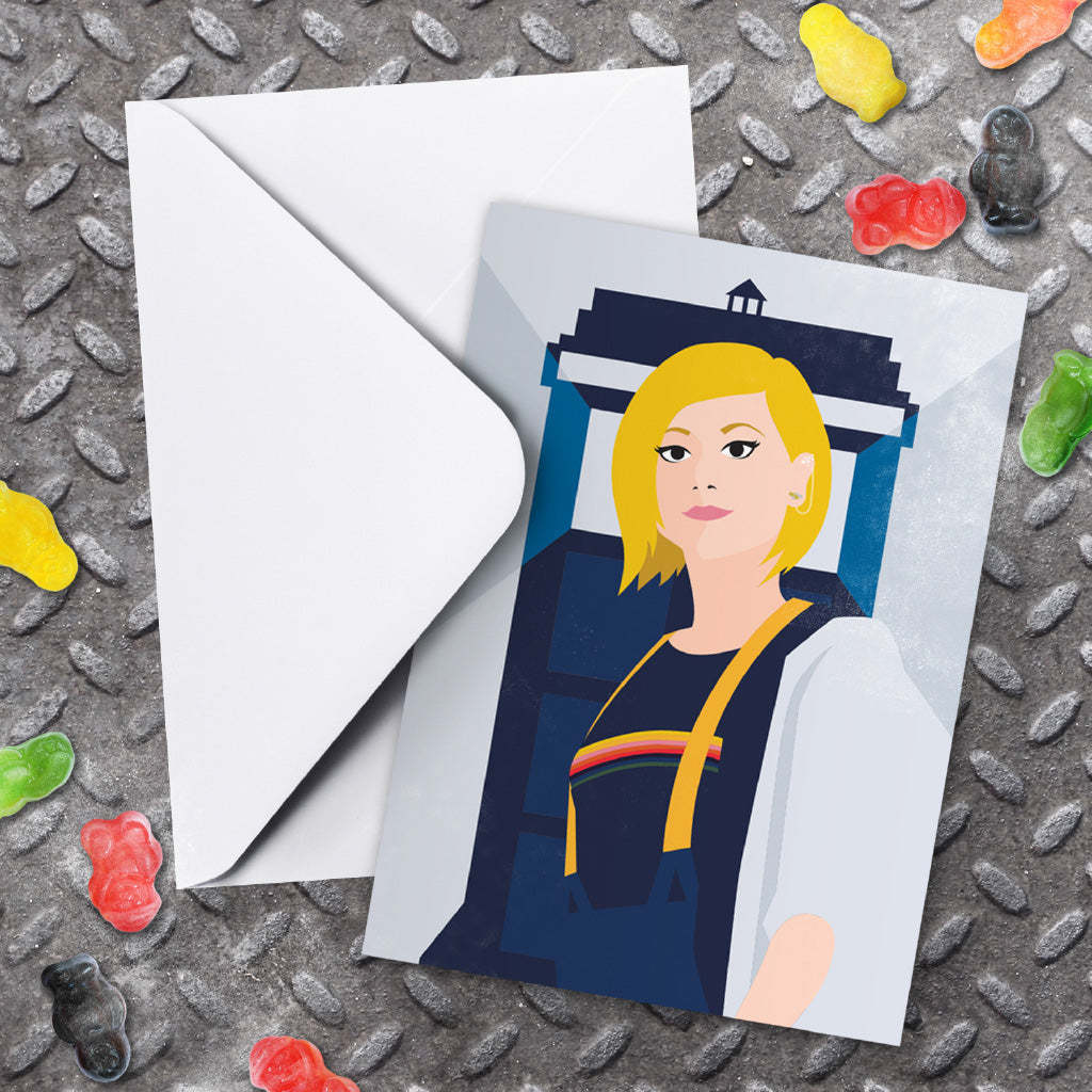 Thirteenth Doctor Tardis Greeting Card (Lifestyle)